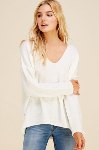 Soft V-Neck Lightweight Knit Sweater