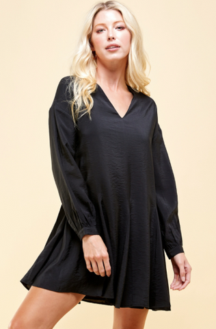 Long Sleeve V-Neck W/ Pleated Detail