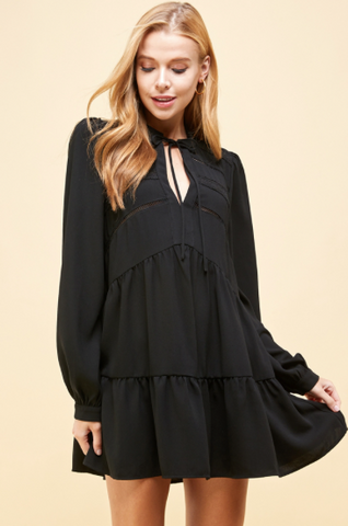 Lace Trim Long Sleeve Tunic Dress