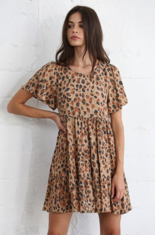 Short Sleeve Crew Neck Woven Rayon Viscose Babydoll Leopard Ruffle Dress