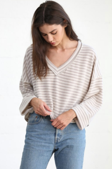 Long Sleeve V-Neck Knit Brushed Hacci Oversized Striped Top