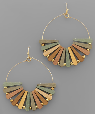 Wood Bar Fan Circle Earrings - Light Multi