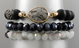 Stone Ball & Glass Bracelet