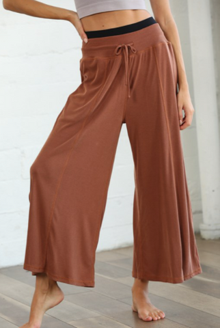Front Strap Elastic Band Loose Fit Rib Pants