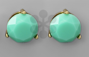 Faceted Round Bead Post Stud - Mint/Gold