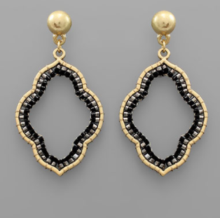Beaded Arabesque Earrings - Black/Worn Gold