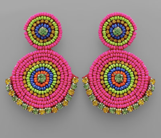 Circle Linked Bead Earrings