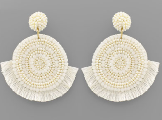 Disc Bead & Tassel Earrings
