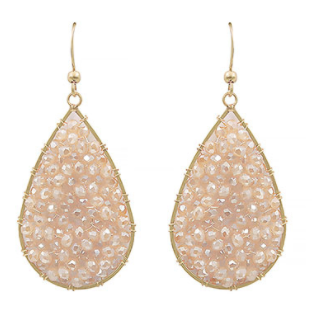 Bead Wrapped Teardrop Earrings - Blush/Gold