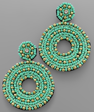 Seed Bead Circle Earrings - Turquoise/Gold