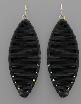 Raffia Wrapped Earrings - Black