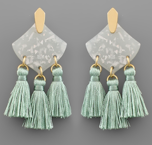 Acrylic Rhombus & Tassel Earrings