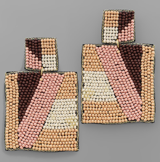 Block Pattern Square Bead Earrings - Natural/Pink/Ivory