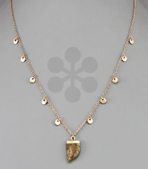 Horn Stone & Disc Necklace - Jasper/Gold