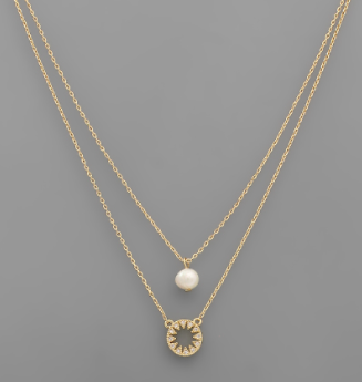 Pearl & Circle Layer Necklace
