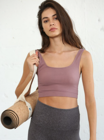 High Quality Seamless RIBBED Tank Short Top - Dusty Lilac