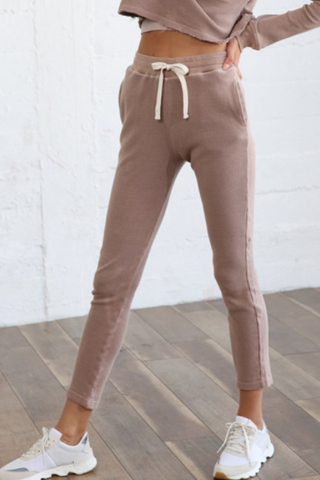 Elastic Band Front Strap Thermal Joggers