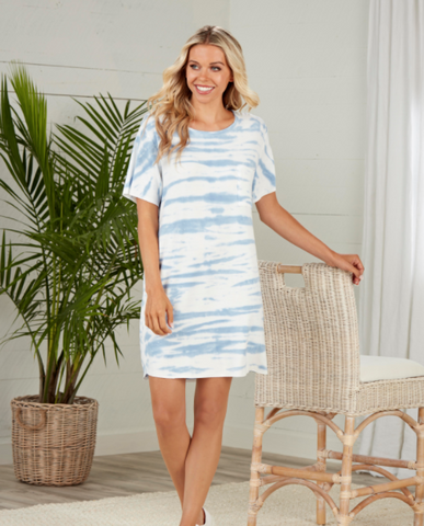 Cleo Blue Tie Dye Dress