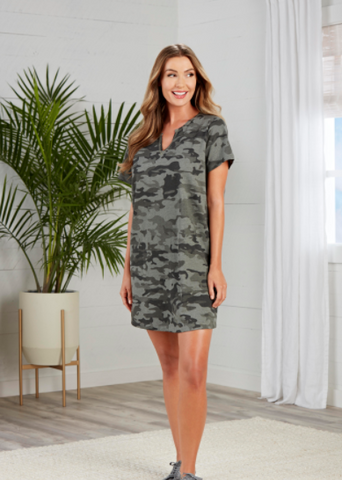Cassidy V-Neck Green Camo Dress