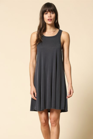 Cupro Ribbed Round Neck Sleeveless Tank Swing Dress