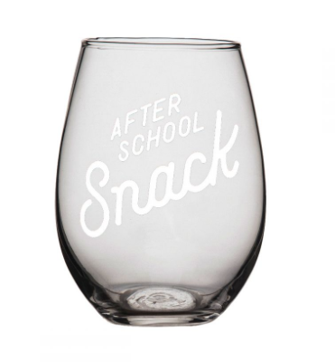 """After School Snack"" Wine Glass"