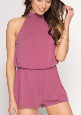 High Neck Sleeveless Halter Romper