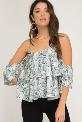 Cold Shoulder Snake Skin Print Top