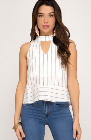 Sleeveless Woven Striped Mock Neck Top