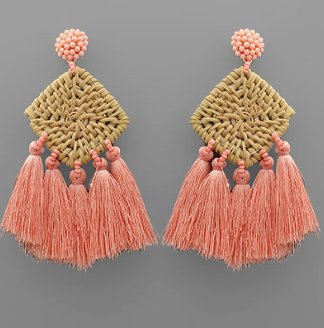 Rattan Square Tassel Earrings