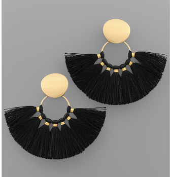 Disk & Fan Tassel Earrings - Black