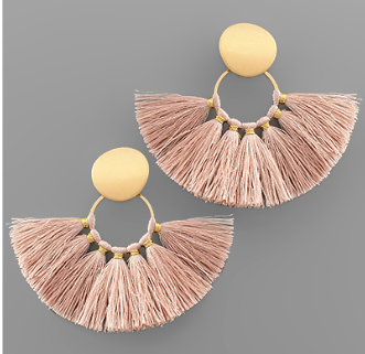 Disk & Fan Tassel Earrings - Blush