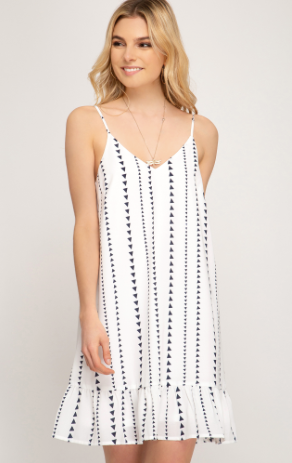 Printed Woven Cami Dress W/ Lining