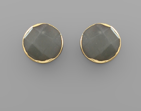 Faceted Stone Stud - Gray
