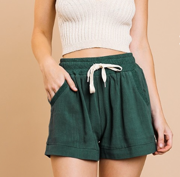 Linen Blend High Waist Shorts with Elastic Waist with Tie