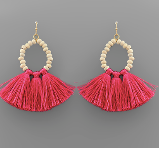 Wood Teardrop Tassel Earrings
