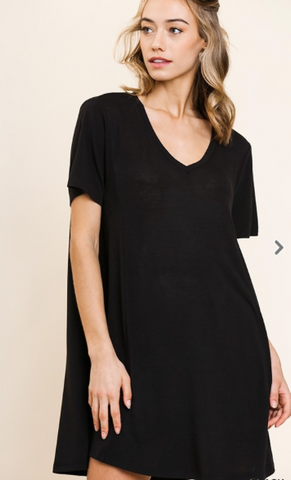 Basic Short Sleeve V-Neck Dress - Black