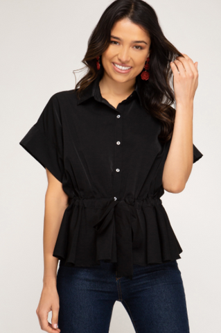 Drop Shoulder Woven Shirt W/ Elastic Waist
