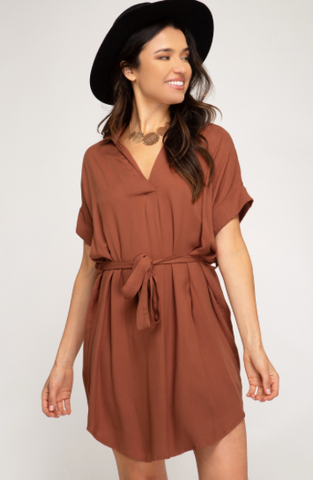 Drop Shoulder Woven Shirt Dress