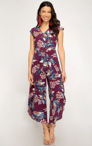 Drop Shoulder V-Neck Woven Culotte Jumpsuit