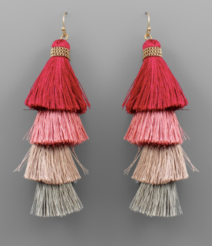 4 Tiered Tassel Earrings