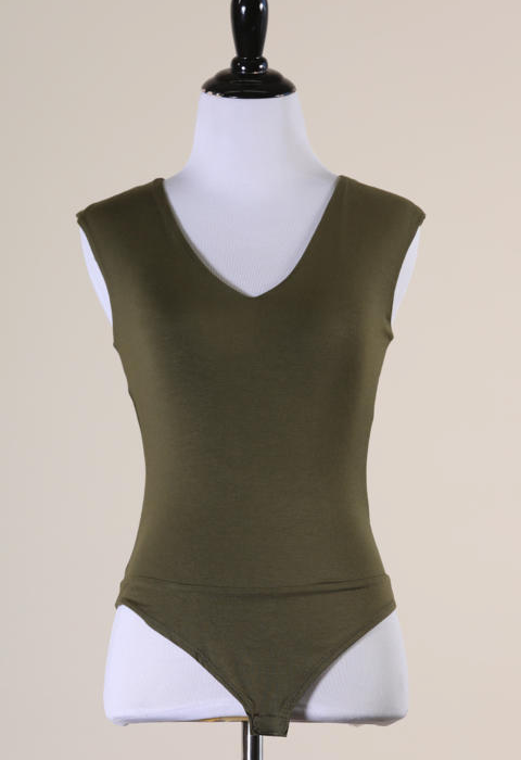 V-Neck Sleeveless Bodysuit - Olive