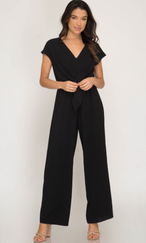 Short Sleeve Jumpsuit W/ Front Tie Detail