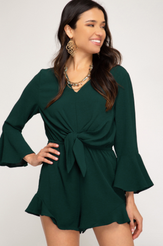 Bell Sleeve Woven Romper W/ Front Detail - Sea Green
