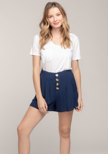 Navy Front Button Shorts