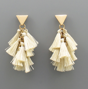Multi Tiered Tassel Earring - Ivory