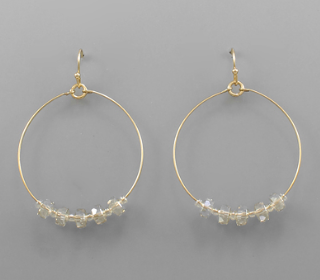 Circle Gold Druzy Earring - Clear