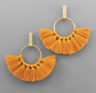 Circle Fan Tassel Earring - Mustard