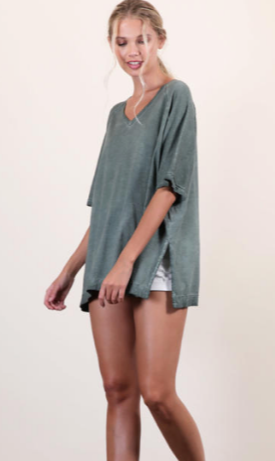 Mineral Washed Cotton Modal Oversized Tee - Green