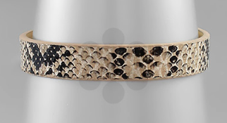 Snake Leather Bracelet - Multi/Matte Silver