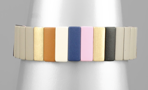15mm Color Block Bracelet - Grey/Multi